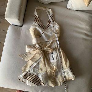 Sabo Skirt Dresses - Linen-like halter wrap mini dress from Saboskirt